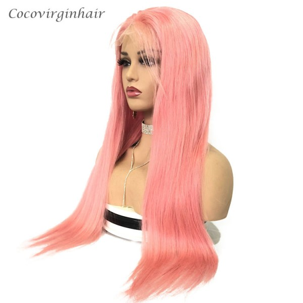 Pink straight wig pre plucked virgin wigs human hair lace front wig for women