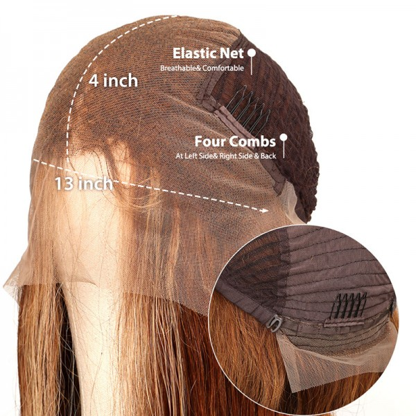 Brown Highlight Color Hair Lace Front Wigs 100% Human Hair Wigs-Glueless for Women