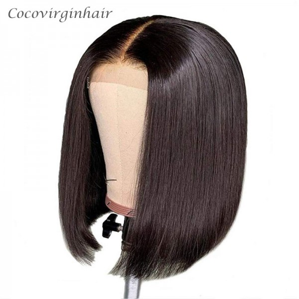 Short Bob Wigs Brazilian Remy Hair Straight 13x4 Lace Front Human Hair Bob Wigs for Women Pre Plucked With Baby Hair