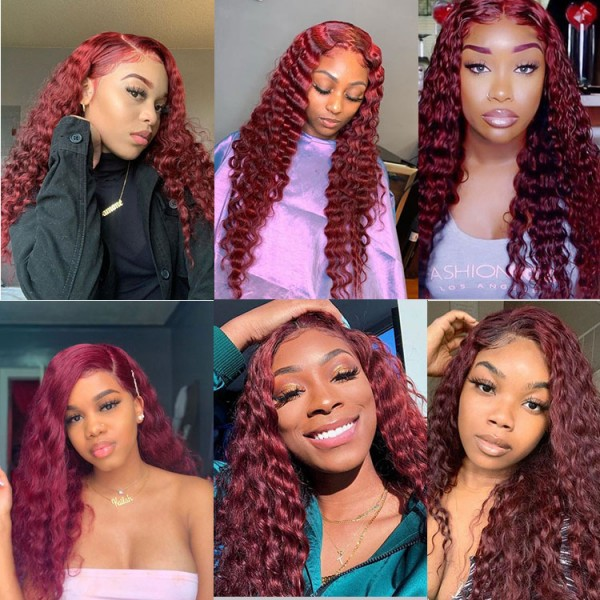 Burgundy Straight Body Wave Deep Wave Human Hair Wigs for Black Women Brazilian Remy Hair 14inch-30inch