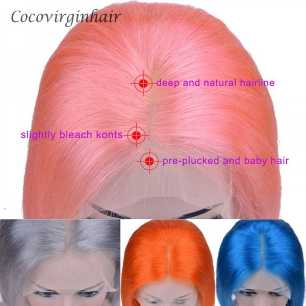 Pre Colored Pink Purple Blue Yellow Grey Lace Front Wigs Human Hair 14inch-30inch