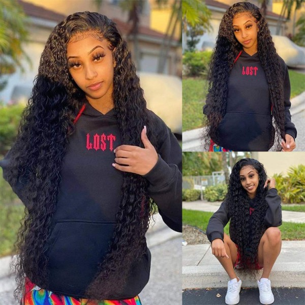 deep wave lace frontal wig 30 inch preplucked with baby hair human wigs for black women lace front