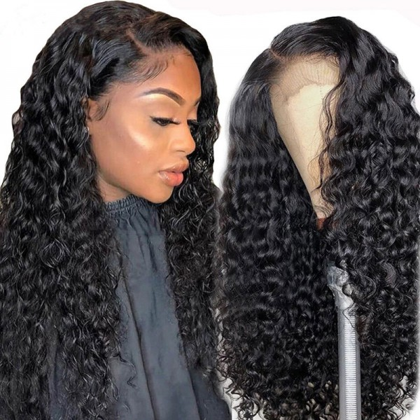deep wave wigs human hair with lace frontal 14inch-30inch for sale