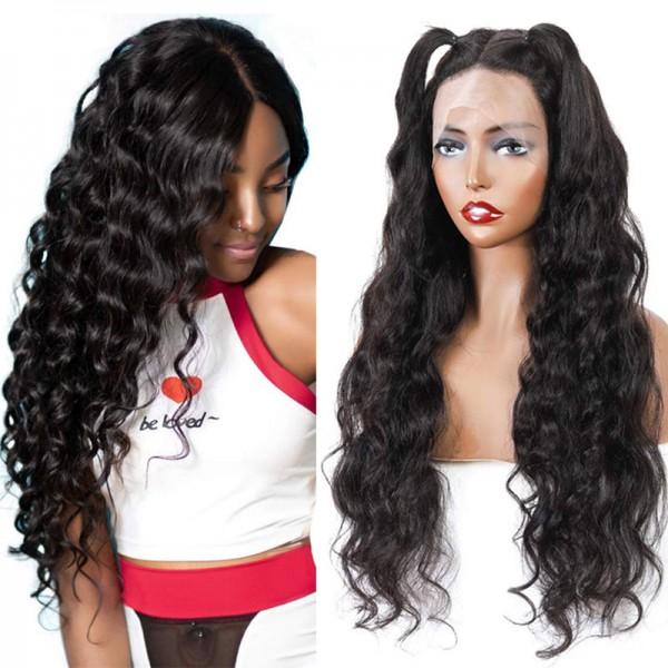 Loose Wave Wigs 100% Brazilian Virgin Human Hair Small Transparent Swiss Lace Wig 180%