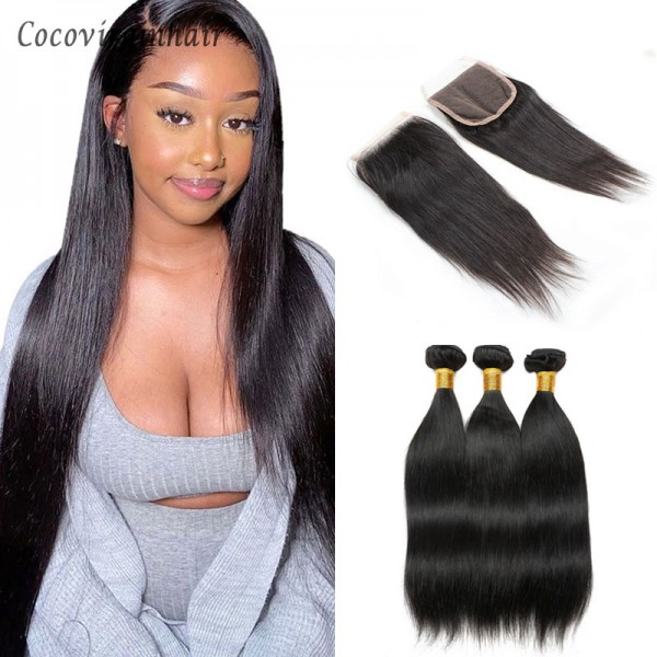 bundles with closure 4x4 natural and blonde 613 straight and body wave human hair