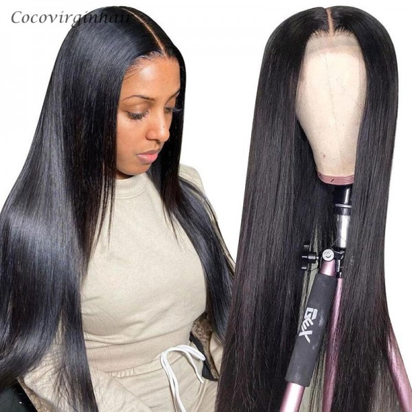 Straight lace front wigs human 100% remy hair cuticle aligned unprocessed 13*4 brazilian human straight hair lace front wig 150%