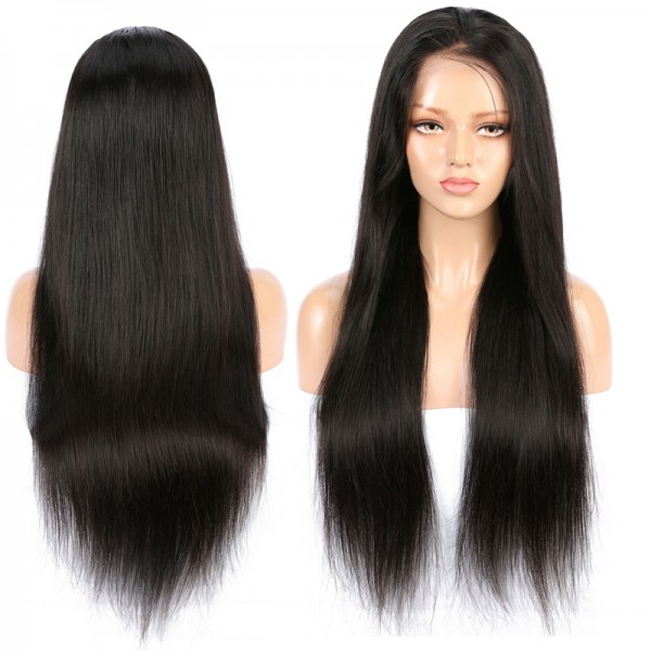 Straight lace front wigs 100% human hair cuticle aligned unprocessed 13*4 brazilian human straight hair lace front wig 150%