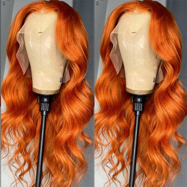 Orange Color Natural Brazilian Human Hair Lace Front Wigs Pre Plucked Virgin Wigs