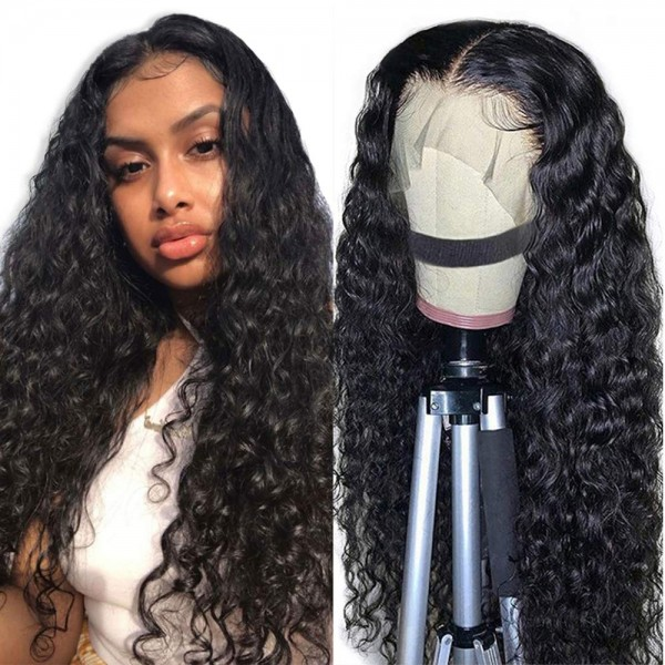 water wave frontal lace wig and brazilian human hair 150/180 density