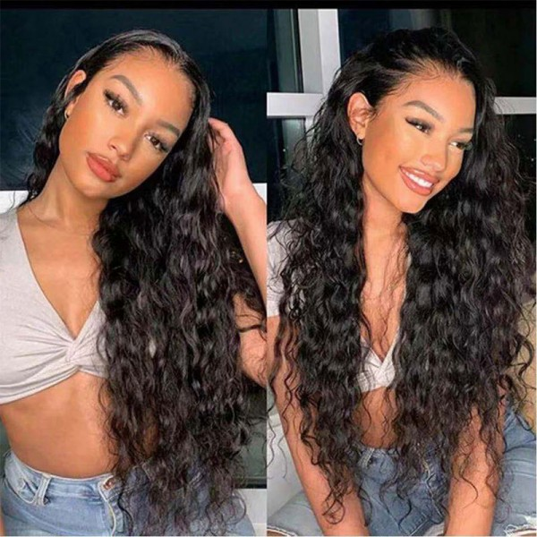 water wave human hair wig with short medium long inches affordable lace front wigs