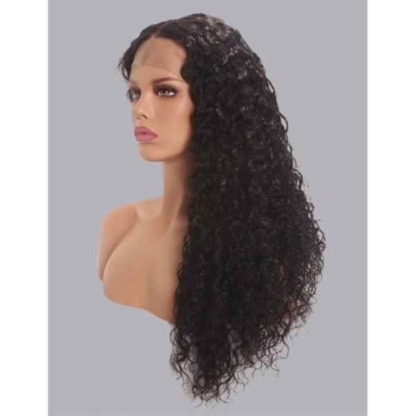 water wave wig 100% virgin human hairpre plucked hairline side part  wigs