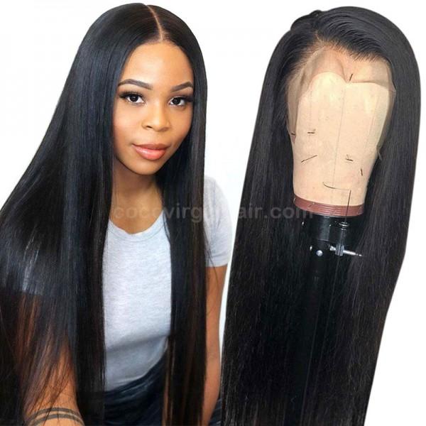 Straight Brazilian Virgin Cuticle Aligned Transparent Lace Front Wigs