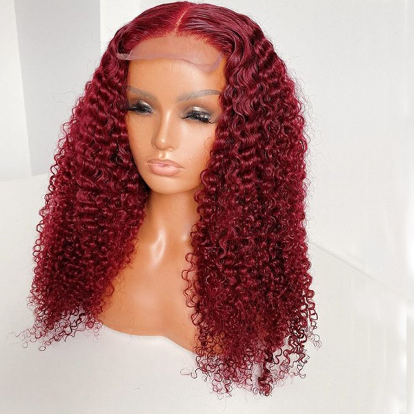 Burgundy Deep Curly 100% Virgin Raw Brazilian Cuticle Aligned Human Hair Full Lace Wigs