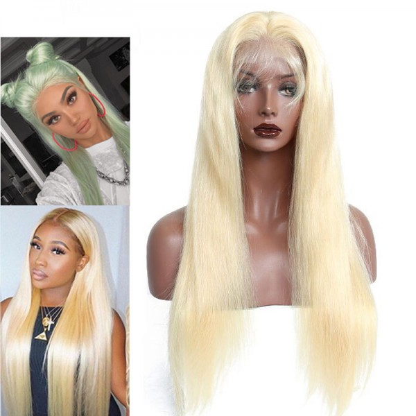 Straight Human Hair Wig 613 Long Blonde Natural Part Lace Front Wig full lace wig with baby hair qingdao hair factory Blonde Wig